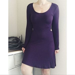 AE Soft & Sexy Cut Out Dress Purple Long Sleeve